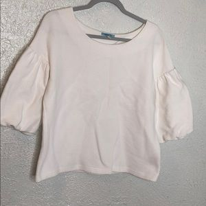Anthropologie ribbed puffed sleeve top sz M